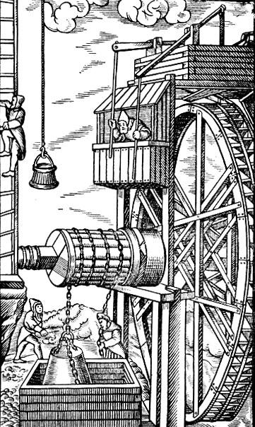 водяным колесом.